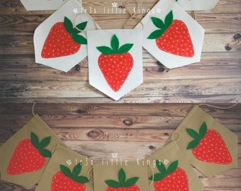 Strawberry banner strawberries garland pennant Summer props picnic prop strawberry party decorations red green