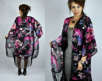 Vintage Floral FRINGED Kimono Jacket Robe Layering Sheer Boho Hippie Gypsy Romantic Festival Coachella Burning Man Woodstock size S - M