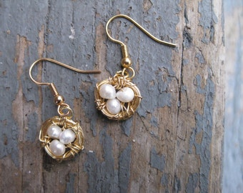 Gold Bird Nest Earrings with Freshwater Pearls / Gold Birds Nest Earrings / Pearl Birds Nest Earrings / Mother's Day Jewelry