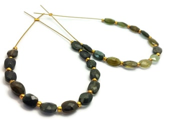 Green and Gray Tourmaline Faceted Ovals, Multi Tourmaline Beads, 5-7mm, Faceted Nuggets, Multi Tourmaline Ovals