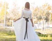 Lace Wedding Dress, Ivory Wedding Gown,Bohemian Wedding Dress,Long Bridal Gown,long Sleeve Dress,Chiffon Wedding Dress by SuzannaM Designs