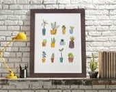 Cactus and succulents print. Watercolor drawing. Illustration. Cactus wall art. Home decor. Archival giclee print