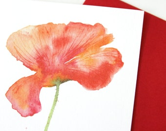 Red poppy greeting cards - Watercolor Artistic Stationary Cards - Illustrated A6 postcards