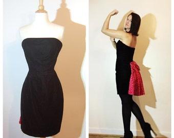 80s Prom Dress with Pink Bow Bustle Strapless Black Velvet Dress by Jessica McClintock size Medium