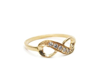 Infinity gold ring. gold jewelry, zircon ring, gem ring, gift for her, birthday gift, gold zircon ring