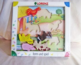 Vintage Collectible Lorenz Form Und Spiel Farm Animal Puzzle #24048