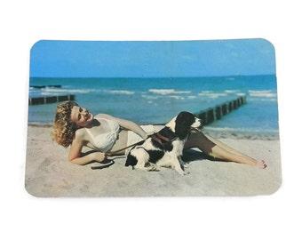 Cheesecake Postcard RRPC Pinup Girl w/Spaniel Dog Postcard Atlantic City