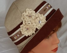 1920s Cloche Flapper Hat,Vintage Style, Summer Hat, 20s Downton Abbey, Country Style, 21,5 inch