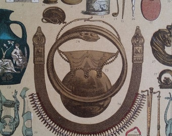 1890s Color Print Objects, Ornaments & Musical Instruments Of Romans Hottenroth, Wall Art Deco