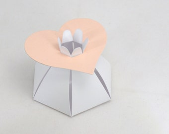12 Heart Favor Boxes in Pink and White for Baby Shower or Wedding Shower or Party