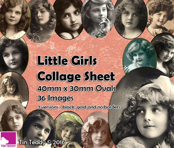 Tin Teddy Little Girls Ovals