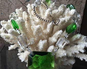 Art Deco Green Glass Beaded Necklace w/Sterling Silver
