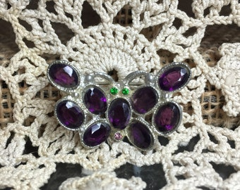 Art Deco Pot Metal & Purple Rhinestone Butterfly Figural Brooch