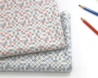 X Symbols Cotton Fabric, Geometric Fabric - Red or Blue - By the Yard 87742