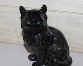 Vintage Black Cat Ceramic Figurine - Green Eyes - Collectibles - Sculpture - Home Decor - Glazed Ceramic