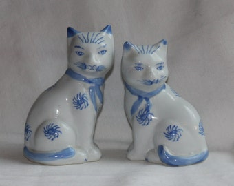 Vintage Blue and White Cat Porcelain Figurines - Home Decor - Asian - Ceramic - Hand Painted - Cottage Chic