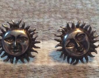 Vintage Handmade Stylized Sterling Silver Sun Face Earrings