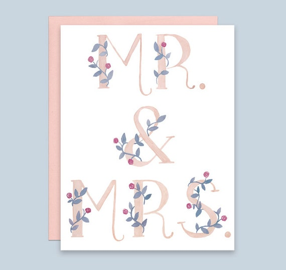 Mr Mrs Wedding Card Wedding Congratulations Card Wedding