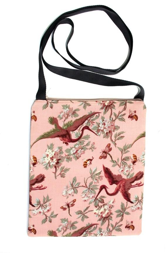SALE! Cranes, peach, Zipster, cross body bag, flat bag