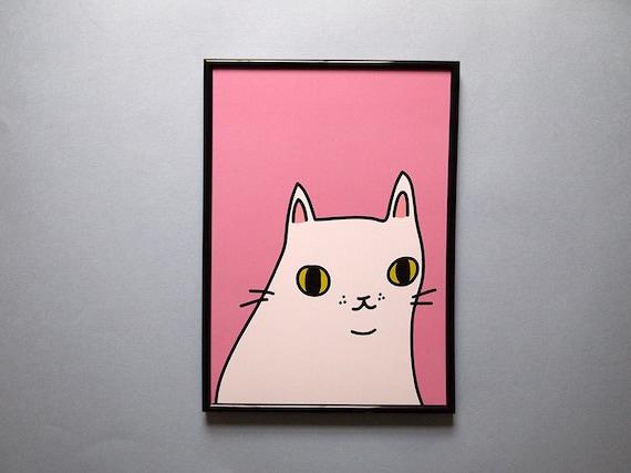 White cat print - Cat print - Cats - I like cats - Cat illustration - Cat art - White cat - Wall art - Home decor -pink cat - Cat gifts