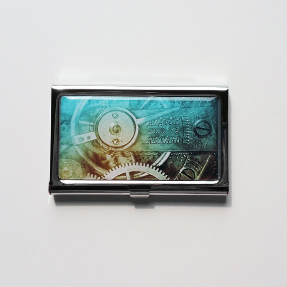 Business card holder mens business card case steampunk metal for Personalized business card holder for men