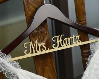 Wedding Hanger, Personalized Rustic Wedding Dress Hanger,Bride Bridesmaid Wood Name Hanger, Wedding Bridal Hanger CM001