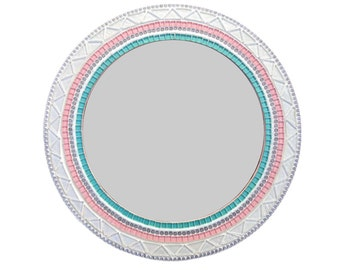 Pink, White, Aqua Round Mosaic Mirror