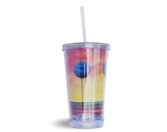 16oz Plastic Tumbler with Straw, BPA Free Travel Cup with Lid, Water Bottle Kitchenware, Colorful Acrylic Tumbler, Teacher Gift, Drinkware