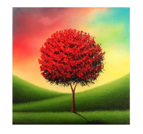 Modern Tree Art Impasto Painting, Canvas Art Landscape Painting, ORIGINAL Oil Painting, Whimsical Red Tree Painting, Multicolored Art, 8x8