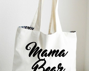 Mama Bear personalized tote, canvas tote, canvas bag, beach tote, personalized bag