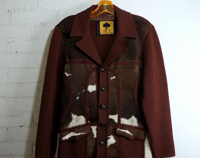 Western Jacket 1950s Vintage Leather Knit Blazer Hair on Hide Mens Size 38 Pony Fur Sweater Blazer Cowhide Leather Cardigan Panel Jumper ACE