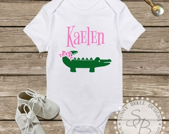 Personalized Alligator Onesie; Baby Onesie;  It's a Girl; Girl Baby Clothes