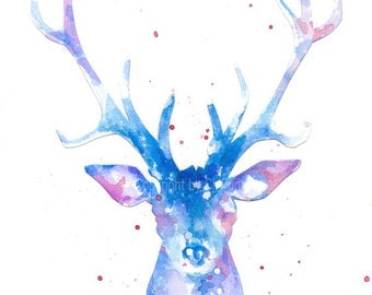 Fine art watercolor painting print, watercolor, paper cut watercolor silhouette painting, deer---Original watercolor giclee print