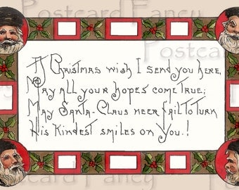 JOLLY Vintage Santa Claus Postcard, HB Griggs, Instant DIGITAL Download