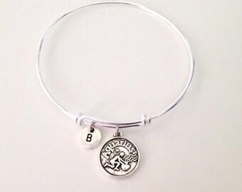 Aquarius Silver Bangle Bracelet Zodiac Birthday Expandle Bracelet