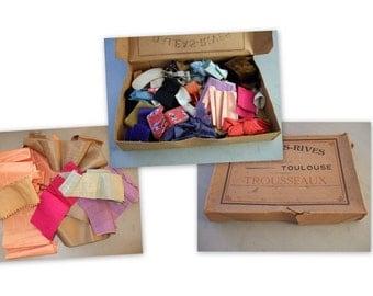 Vintage French Ribbons, Advertising Box, Silks, Satin, Velvet.