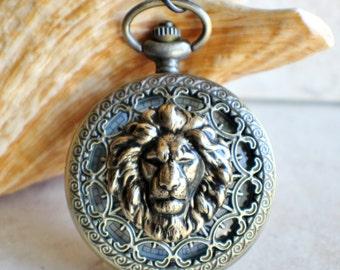 Lion pocket watch, bronze lion pocket watch,  with tiger eye beads on watch chain