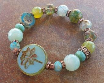 Dragonfly Stretch Bracelet, multi semi precious gemstones,spring time, soar,bracelet jewelry, stretch bracelet
