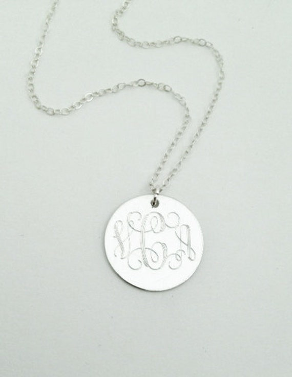 Monogrammed Necklace in Sterling Silver for Women or Bridesmaid Present