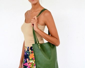 Green leather tote  / Handmade leather bag