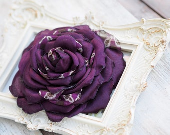 Purple Bridal Hair Flower, Big Flower Brooch, Plum Flower Clip, Eggplant Hair Accessory, Aubergine Fabric Flower Brooch