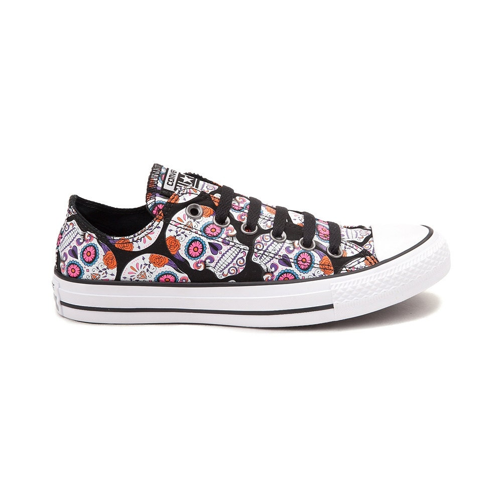 Converse Low Black Pink Sugar Skull Custom - My Sugar Skulls