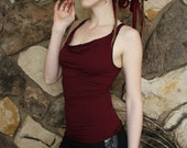 Organic Cowl Tank Top Full Length in Deep Port Red with Back Weave, Festival Couture, Dance Lovers, Subtle Witch, Sustainable is sexy