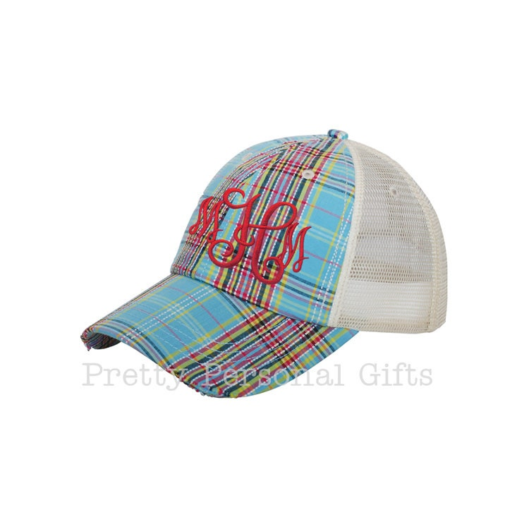 plaid trucker hat with monogram distressed plaid baseball