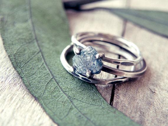 Diamantring verlobung blau  Roh-Diamant-Verlobungsring Diamant-Ring blaue Diamant-Ring