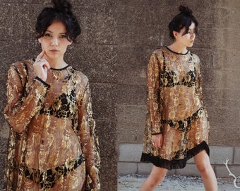 80's Metallic Gold Rose Floral Lace Overlay Dress with Black Fringe Size M/L