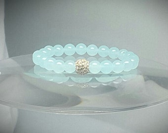 Sea Foam Glass Bracelet with Gold or Silver Crystal Stackable Pave Mint Bead Jewelry