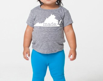 Virginia 'Roots' or 'Made' Tri Blend Baby T-Shirt - Infant Boy and Girl Tee