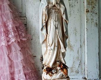Virgin Mary statue shabby French Nordic white neutral pale blue large Madonna figure w/ cherub pillar cottage home decor anita spero design