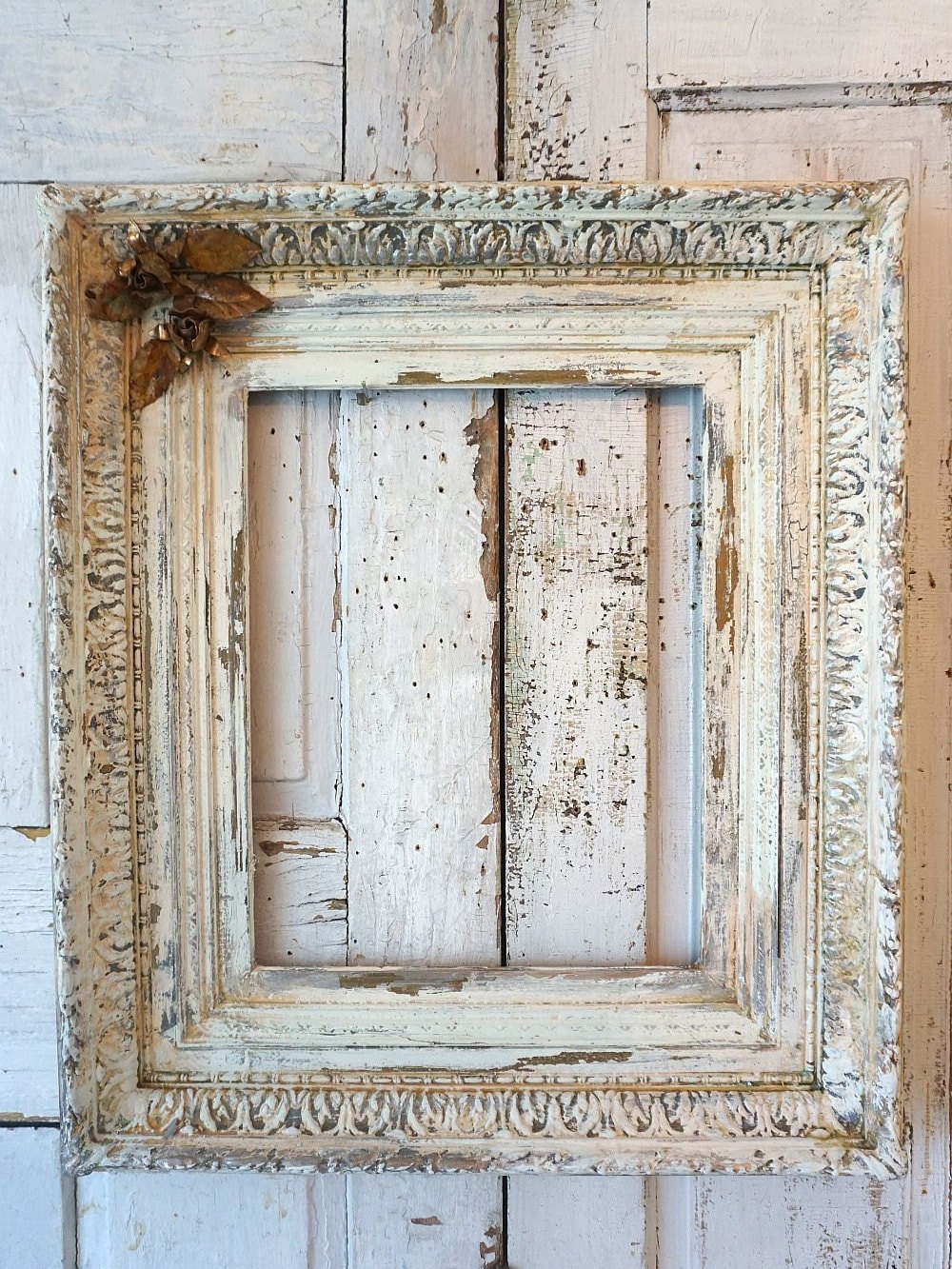 White Picture Frame Shabby Chic Wall Hanging Thick Wood French